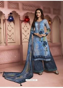 Blue Printed Pure Cotton Designer Palazzo Suit