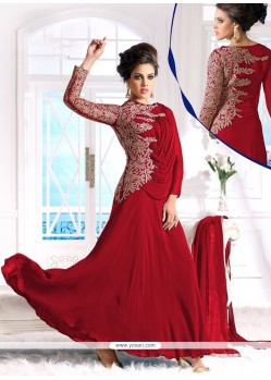 Astounding Red Georgette Anarkali Suit