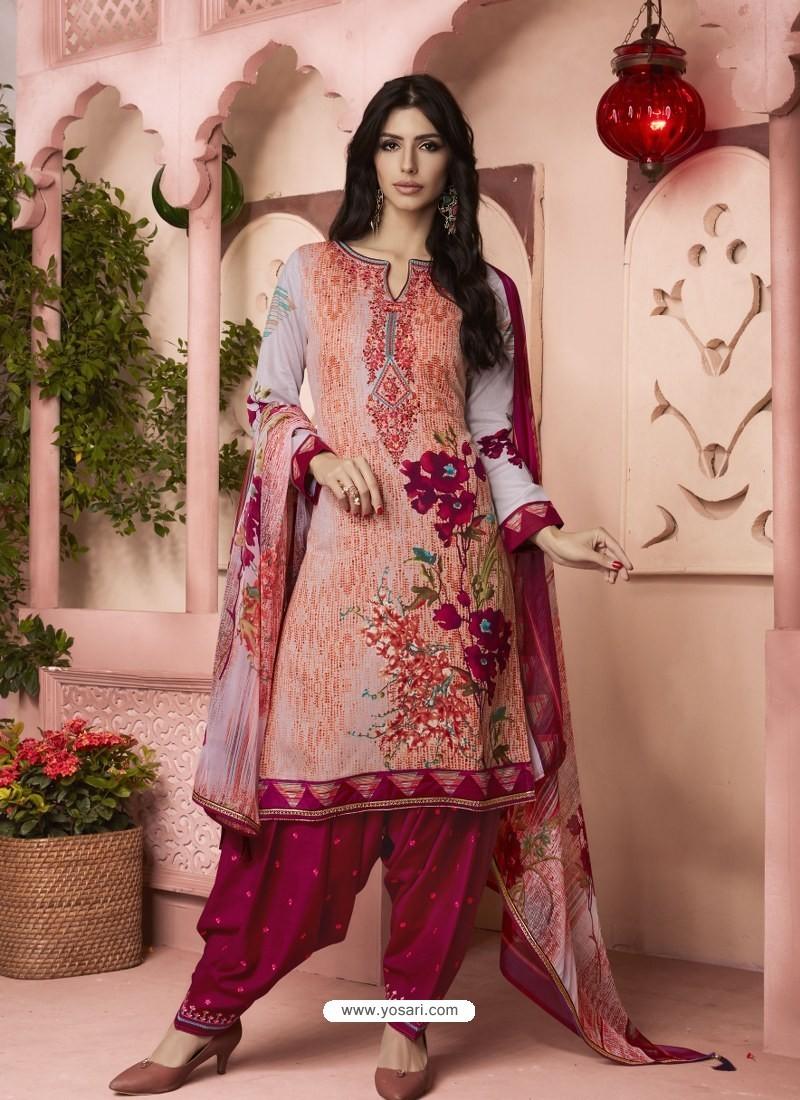 bf9ea9306c Buy Multi Colour Digital Printed Pure Cotton Designer Patiala Salwar ...
