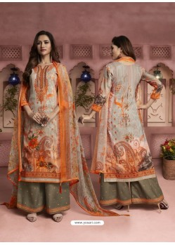 Orange And Multi Colour Printed Pure Cotton Designer Palazzo Suit