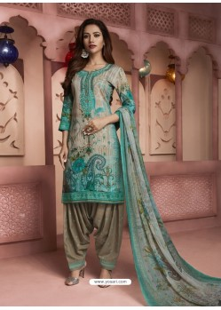 Aqua Mint And Grey Digital Printed Pure Cotton Designer Patiala Salwar Suit