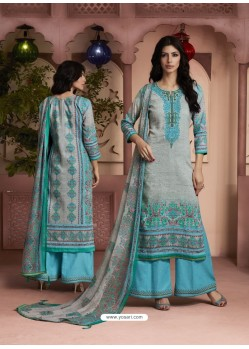 Sky Blue And Grey Printed Pure Cotton Designer Palazzo Suit
