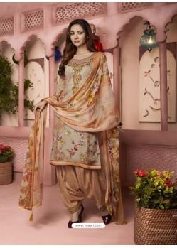 Beige And Rust Digital Printed Pure Cotton Designer Patiala Salwar Suit