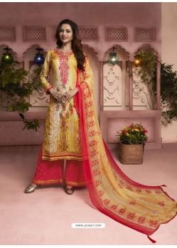Yellow And Dark Peach Printed Pure Cotton Designer Palazzo Suit