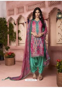 Light Pink And Jade Green Digital Printed Pure Cotton Designer Patiala Salwar Suit