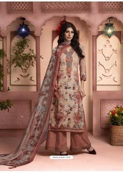 Light Brown Printed Pure Cotton Designer Palazzo Suit