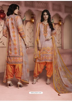 Dusty Pink And Orange Digital Printed Pure Cotton Designer Patiala Salwar Suit