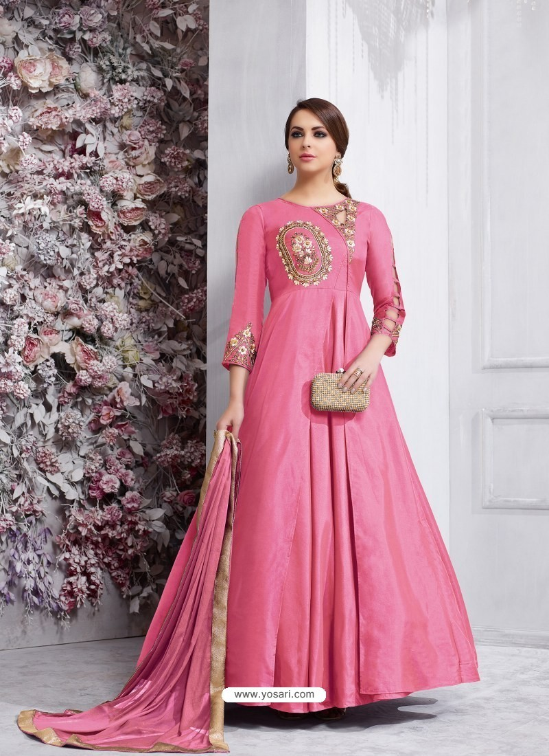 165b40dbfd1 Buy Light Pink Soft Tapeta Silk Embroidered Designer Anarkali Suit ...