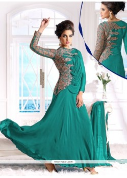 Attractive Sea Green Georgette Anarkali Suit