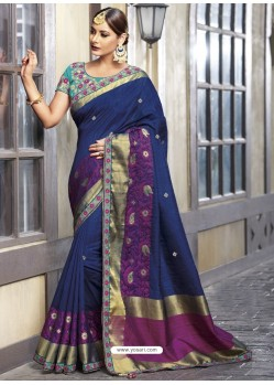 Latest Navy Blue Raw Silk Designer Woven Saree