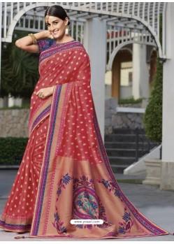 Amazing Crimson Raw Silk Designer Woven Saree