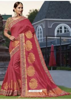 Splendid Crimson Raw Silk Designer Saree
