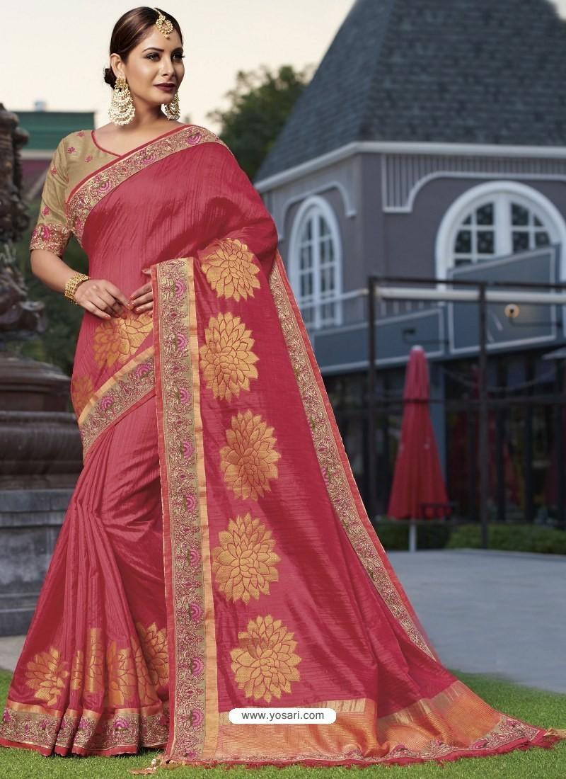 aa7b3ec8b0e54 Buy Splendid Crimson Raw Silk Designer Saree