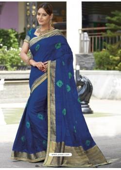 Dark Blue Raw Silk Designer Woven Saree