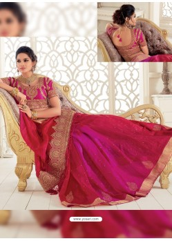 Crimson Raw Silk Woven Designer Party Wear Saree