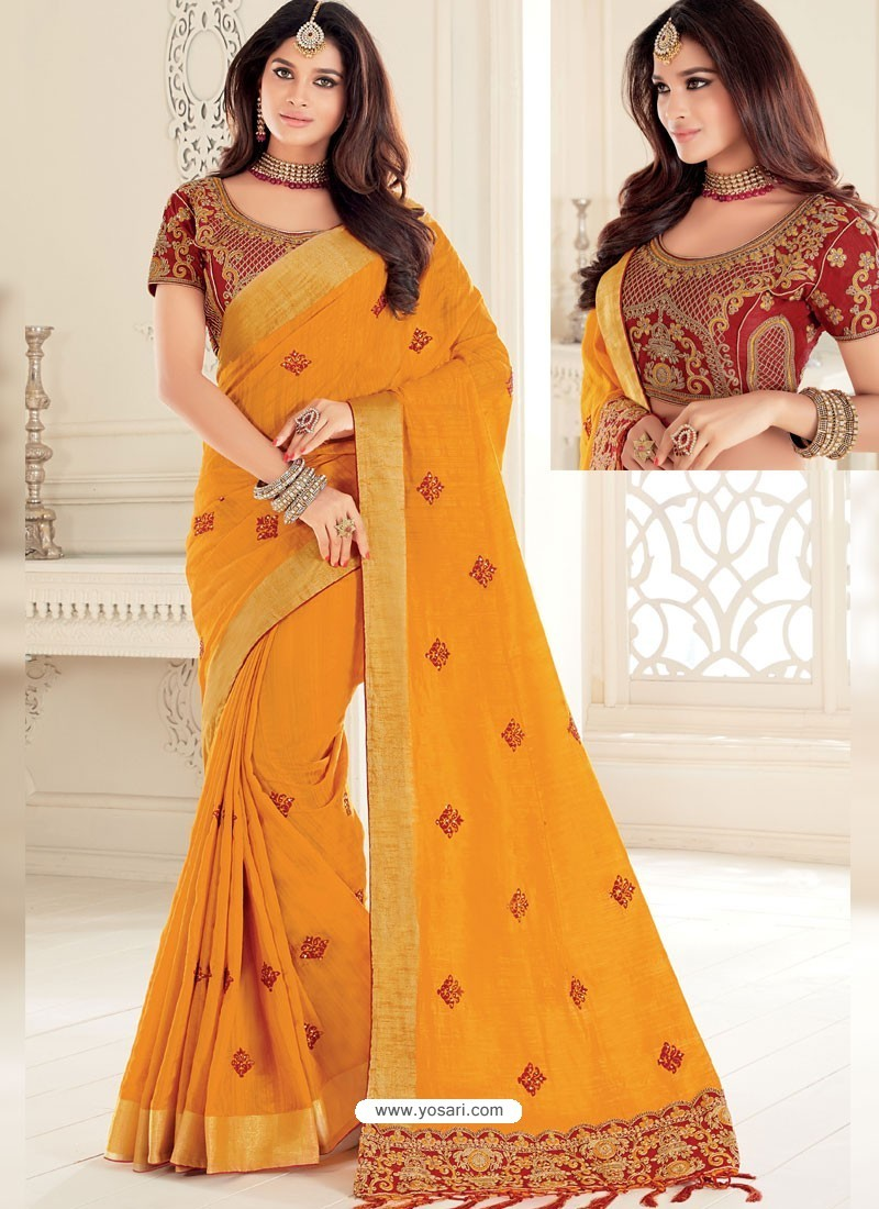00ece7d933 Buy Lovely Yellow Raw Silk Woven Designer Party Wear Saree | Party ...