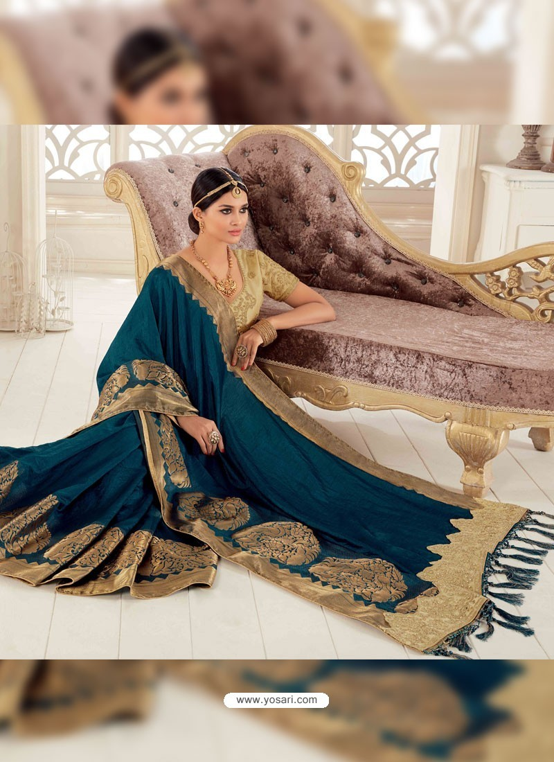 050cca82a2 Buy Peacock Blue Raw Silk Woven Designer Party Wear Saree | Party ...