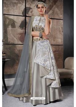 Silver Jacquard Raw Silk Designer Lehenga Choli