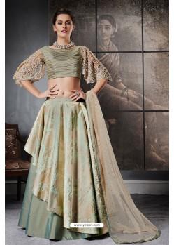 Olive Green Jacquard Raw Silk Designer Lehenga Choli