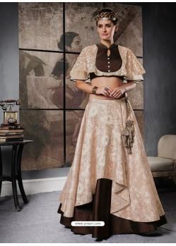 Cream And Brown Jacquard Brocade Designer Lehenga Choli