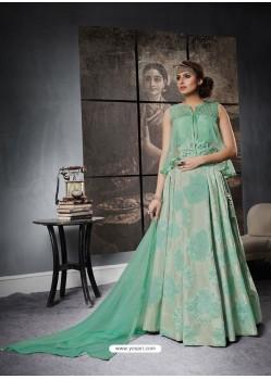 Sea Green Jacquard Silk Designer Lehenga Choli
