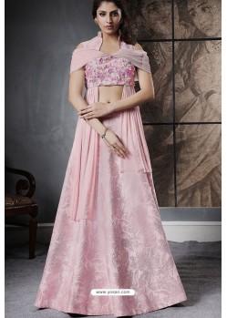 Baby Pink Jacquard Silk Designer Lehenga Choli