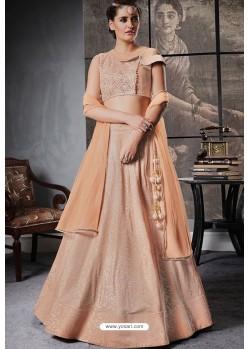 Light Orange Jacquard Lycra Designer Lehenga Choli