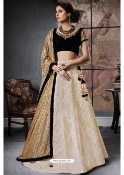 Marvelous Black And Cream Jacquard Brocade Designer Lehenga Choli