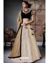 Marvelous Black And Cream Jacquard Brocade Designer Lehenga Choli