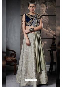 Gorgeous Olive Green And Navy Blue Jacquard Raw Silk Designer Lehenga Choli