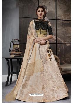 Incredible Black And Beige Jacquard Raw Silk Designer Lehenga Choli