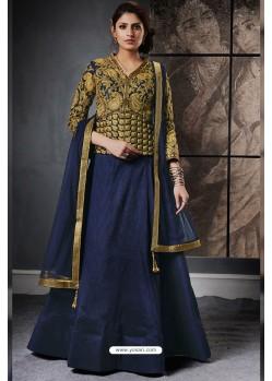 Navy Blue And Gold Jacquard Raw Silk Designer Lehenga Choli