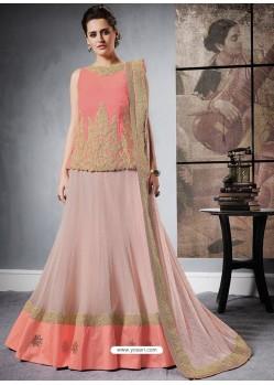 Peach Jacquard Raw Silk Designer Lehenga Choli
