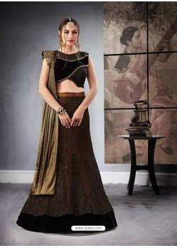 Eyecatching Black And Brown Jacquard Raw Silk Designer Lehenga Choli