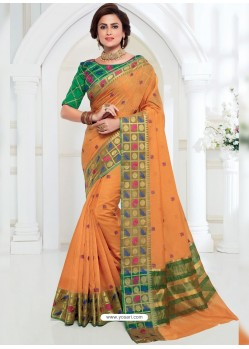 Graceful Mustard Chanderi Cotton Designer Saree