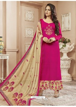 Fuchsia Cotton Satin Digital Printed Designer Palazzo Salwar Suit