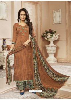 Brown Cotton Satin Digital Printed Designer Palazzo Salwar Suit