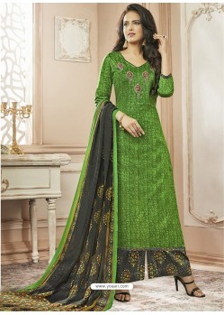 Forest Green Cotton Satin Digital Printed Designer Palazzo Salwar Suit