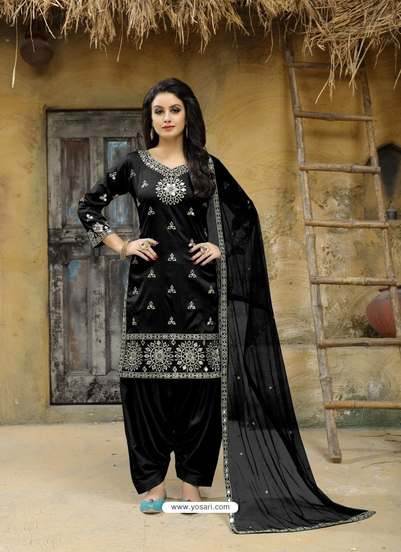 0c7b37226d Buy Black Tafeta Silk Embroidered Designer Patiala Salwar Suit ...