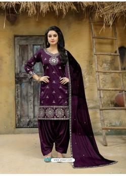Purple Tafeta Silk Embroidered Designer Patiala Salwar Suit