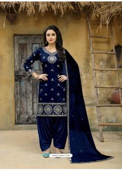 Navy Blue Tafeta Silk Embroidered Designer Patiala Salwar Suit