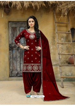 Maroon Tafeta Silk Embroidered Designer Patiala Salwar Suit