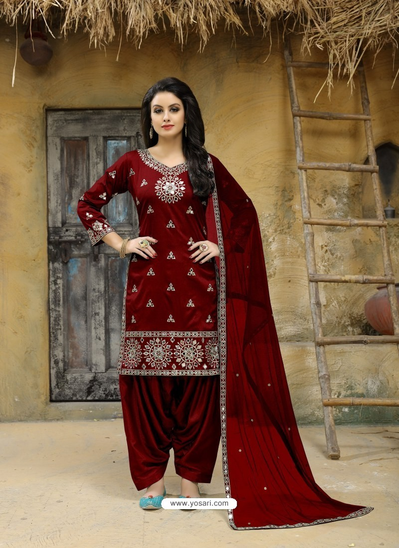 f22fac23f05 Buy Maroon Tafeta Silk Embroidered Designer Patiala Salwar Suit ...