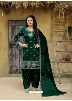 Dark Green Tafeta Silk Embroidered Designer Patiala Salwar Suit