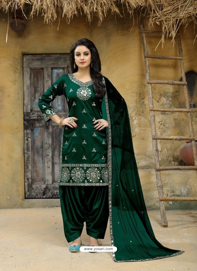 Buy Dark Green Tafeta Silk Embroidered Designer Patiala Salwar Suit