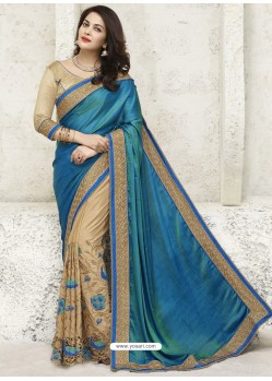 Teal Blue And Beige Chiffon Designer Party Wear Saree
