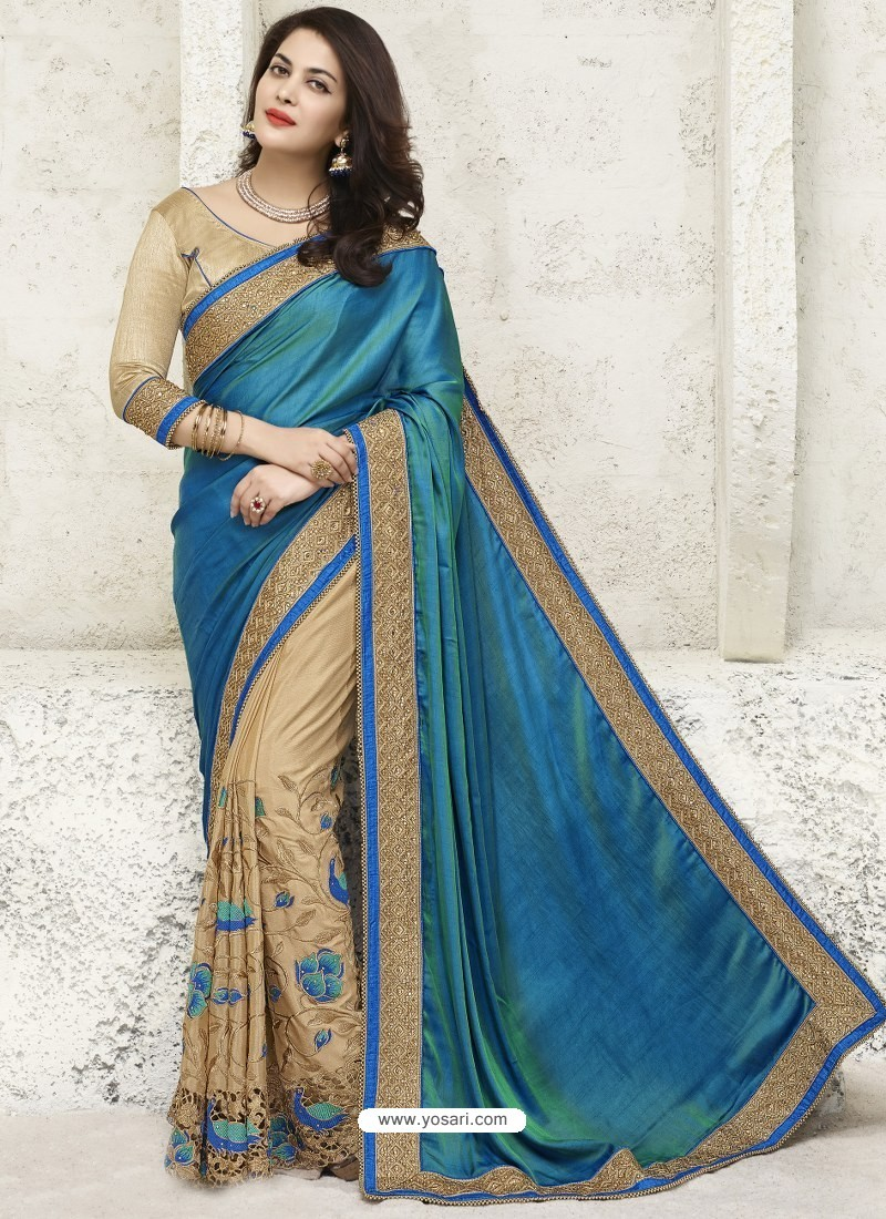 95acb68f98 Buy Teal Blue And Beige Chiffon Designer Party Wear Saree | Party ...