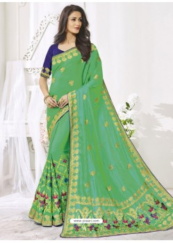 Parrot Green Silk Designer Party Wear Saree