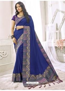 Navy Blue Silk Designer Party Wear Saree