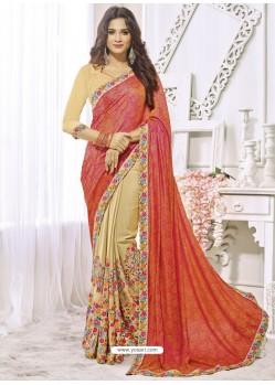 Orange And Beige Chiffon Designer Party Wear Saree